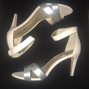 Metallic and beige strappy heels. Size 8.5.